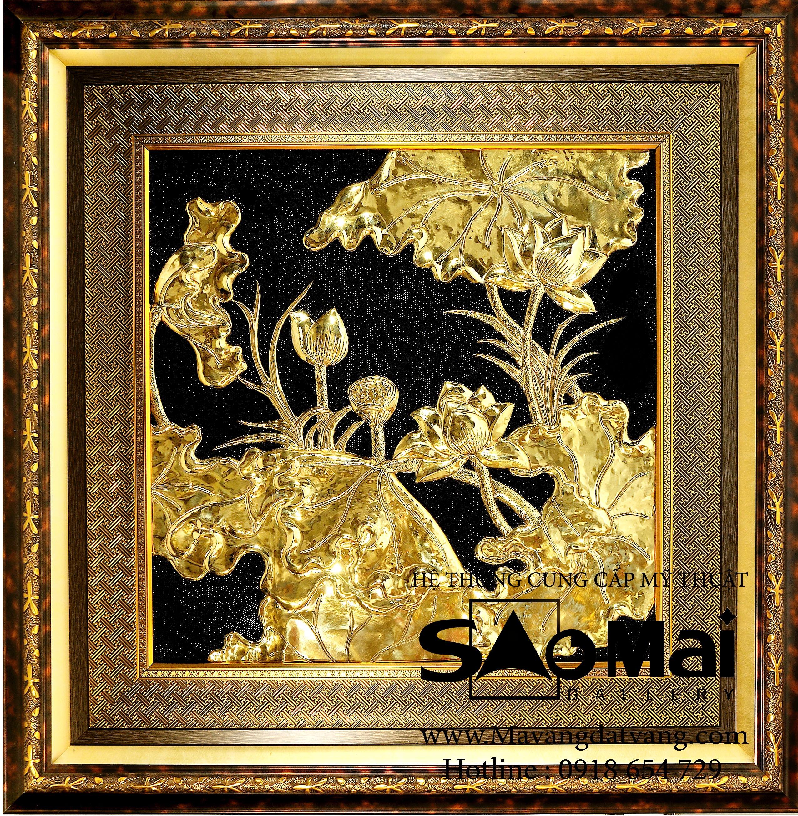 tranh chạm đồng mạ vàng