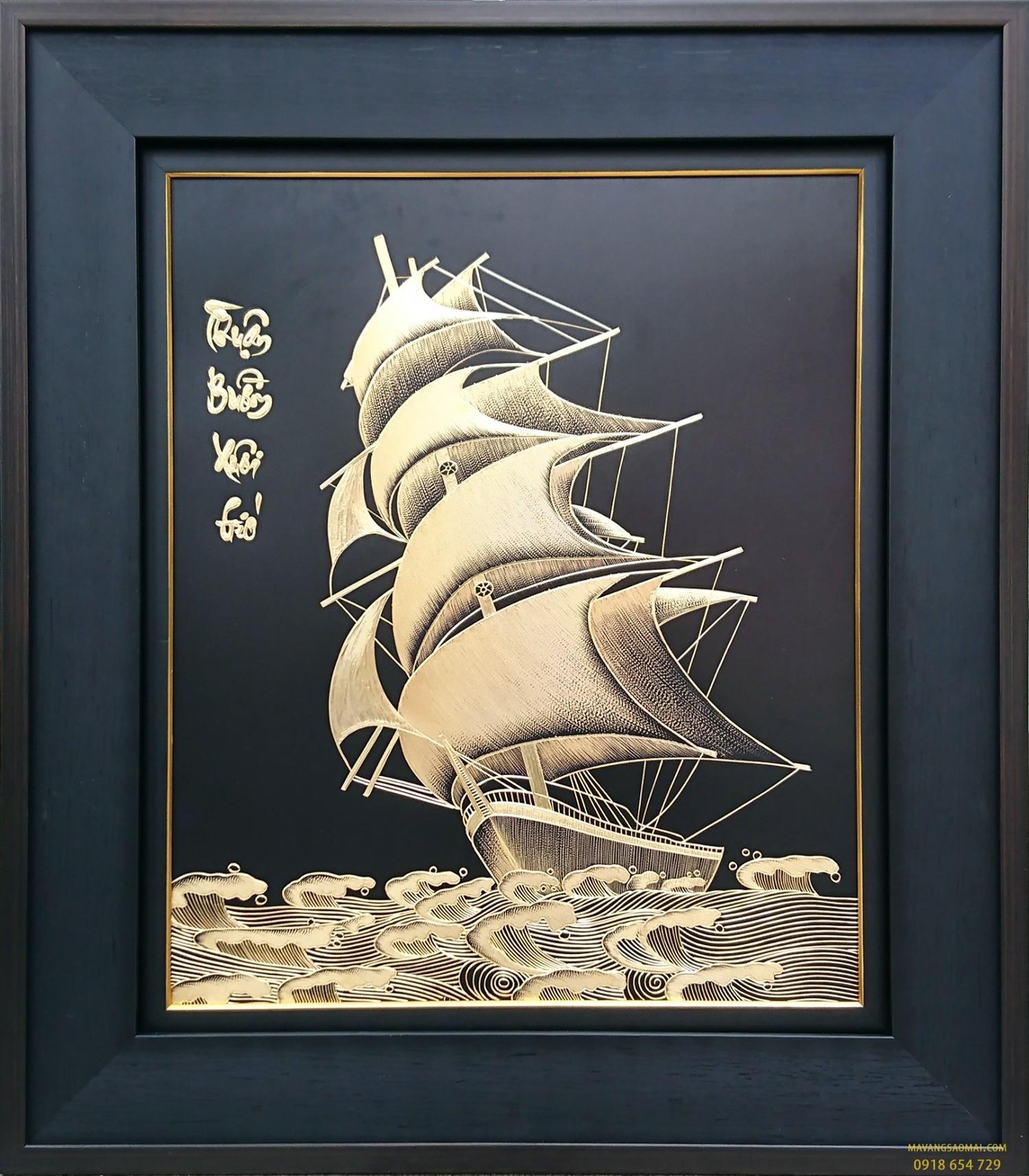 """Tranh đồng mạ vàng """"Thuận buồm xui gió"""""""